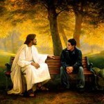 Jesus on a park bench,man